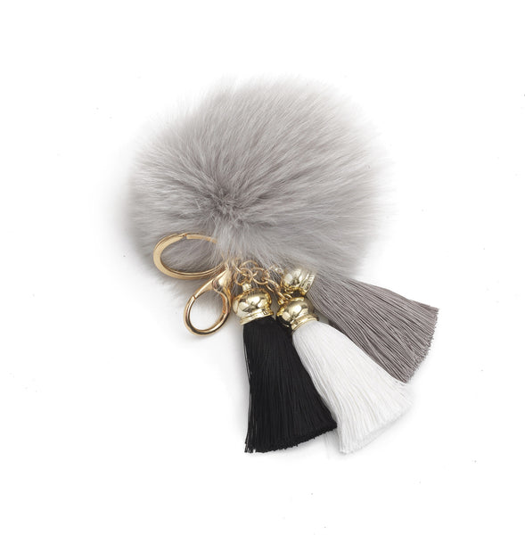 Pom Pom Charm with Tassels in Gray