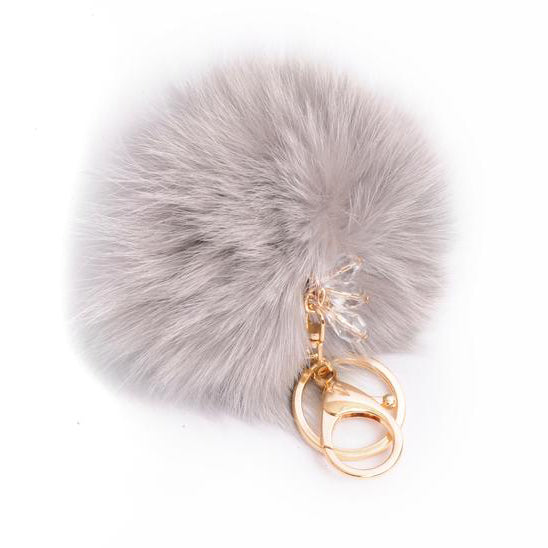 Pom Pom Charm with Crystals in Gray