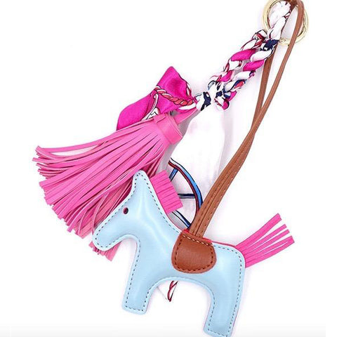 Horse and Tassel Bag Charm in Blue and Bright Pink