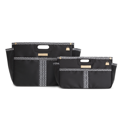 Classic Glamour Black and White Purse Organizer Set (Small and XL)