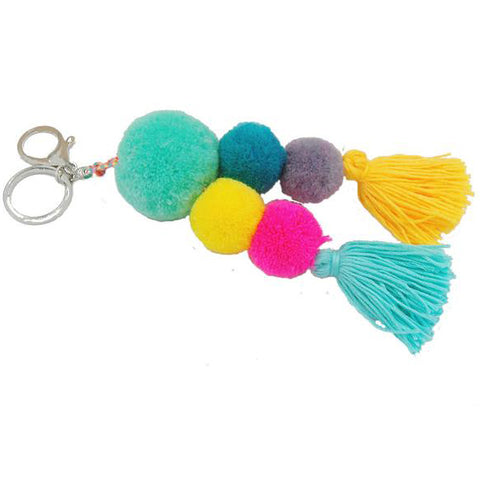 Boho Pom Pom Tassel Bag Charm in Bright Teal, Pink and Yellow