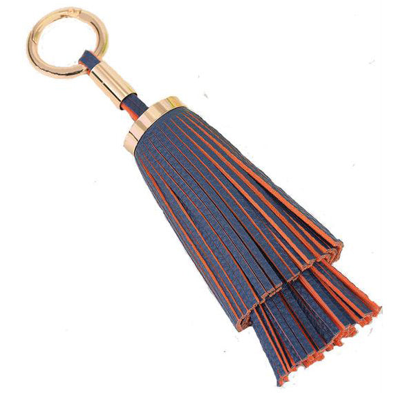 Double Layered Tassel Bag Charm In Blue and Orange