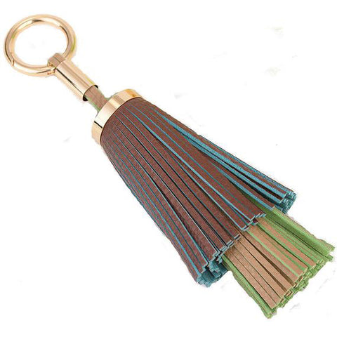 Double Layered Tassel Bag Charm In Chocolate/Multi