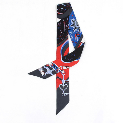 Twilly Scarf in Black with Royal Blue and Red