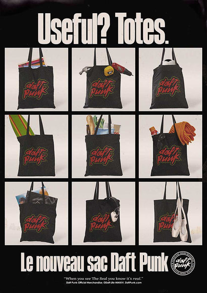 Black Daft Punk Logo Tote Bag