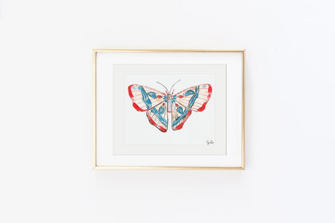 Cobalt and Crimson Luna Moth - Watercolor Wings Collection