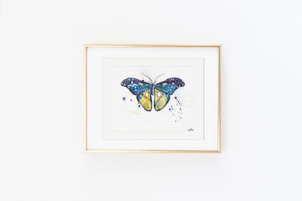 Navy Twilight Luna Moth - Watercolor Wings Collection