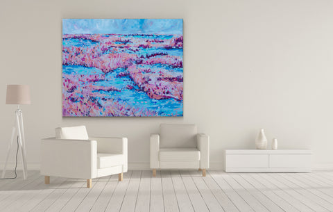 "Blue Raspberry Marsh - 48"" x 60"""