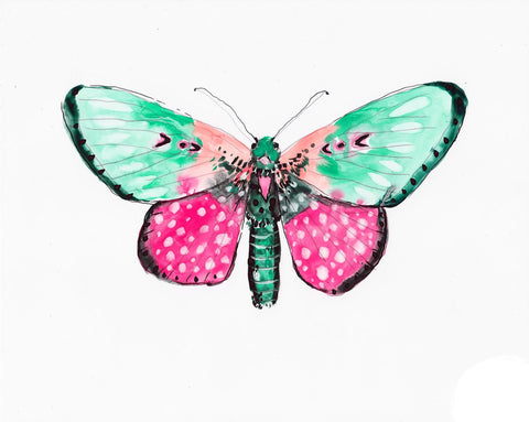 Berry Leopard Luna Moth - Watercolor Wings Collection