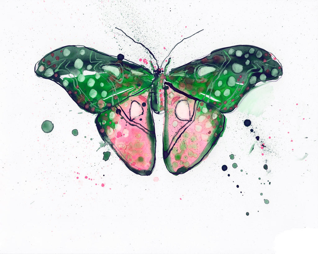 Watermelon Twilight Luna Moth - Watercolor Wings Collection