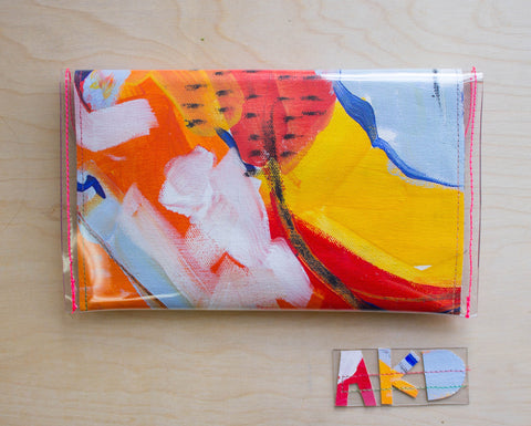 Handmade Clutch Purse from Original Abstract Painting, Front View