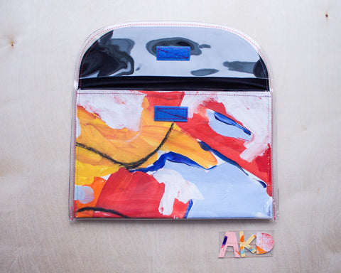 Handmade Clutch from Original Abstract Painting, Front View