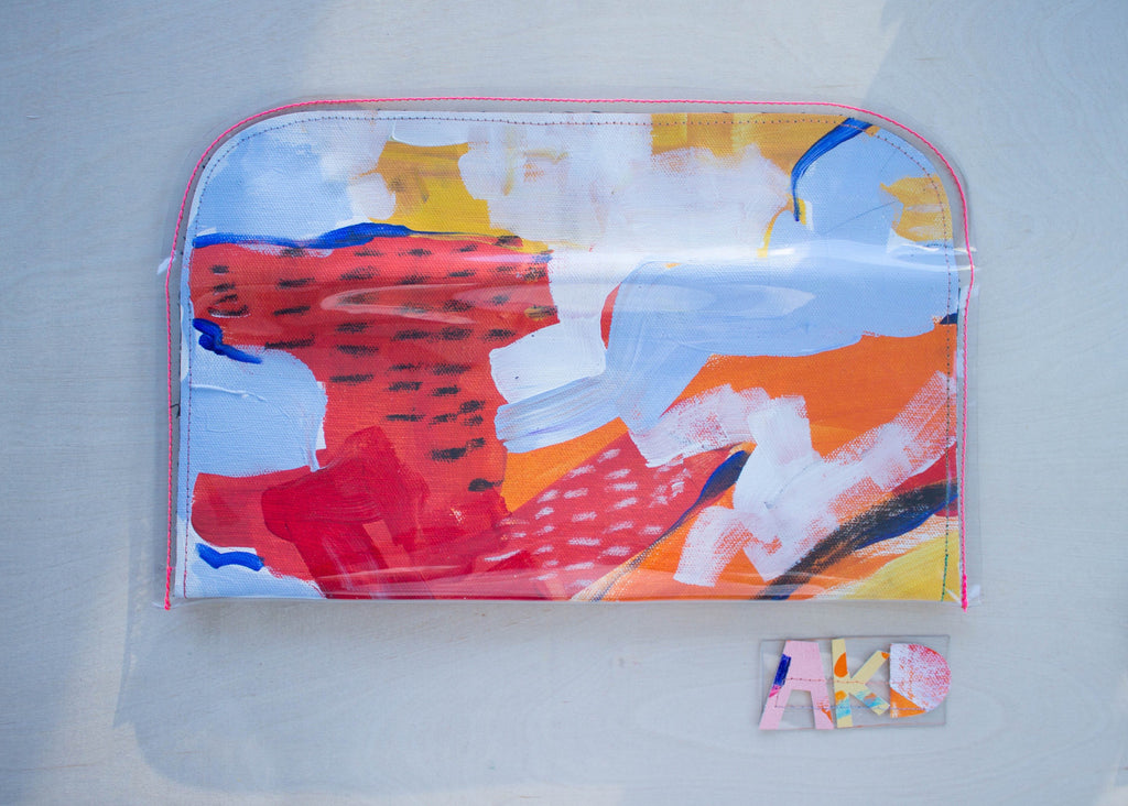 Handmade Purse from Original Abstract Painting, Back View