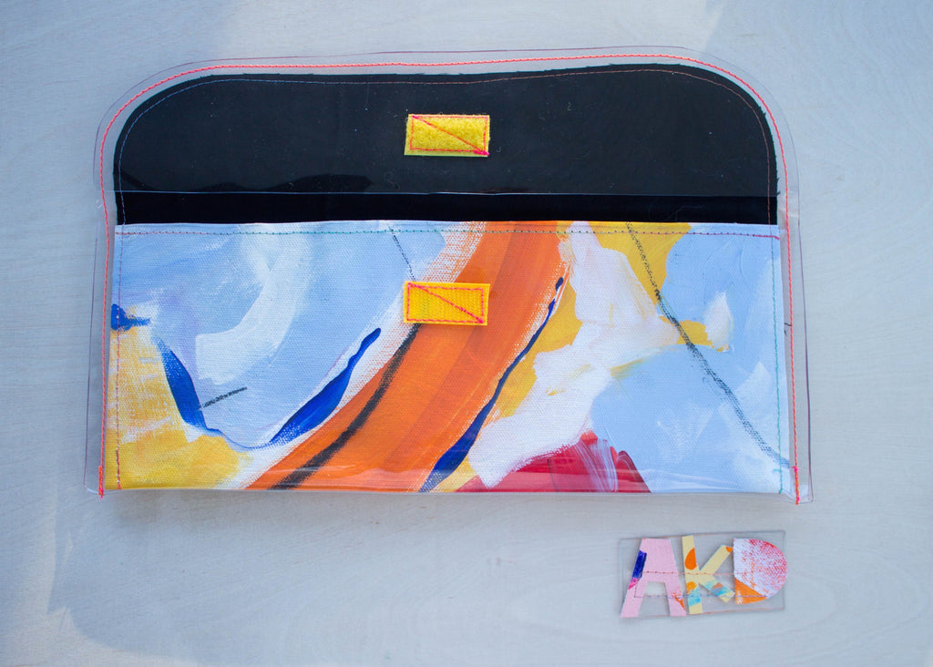 Handmade Purse from Original Abstract Painting, Interior View