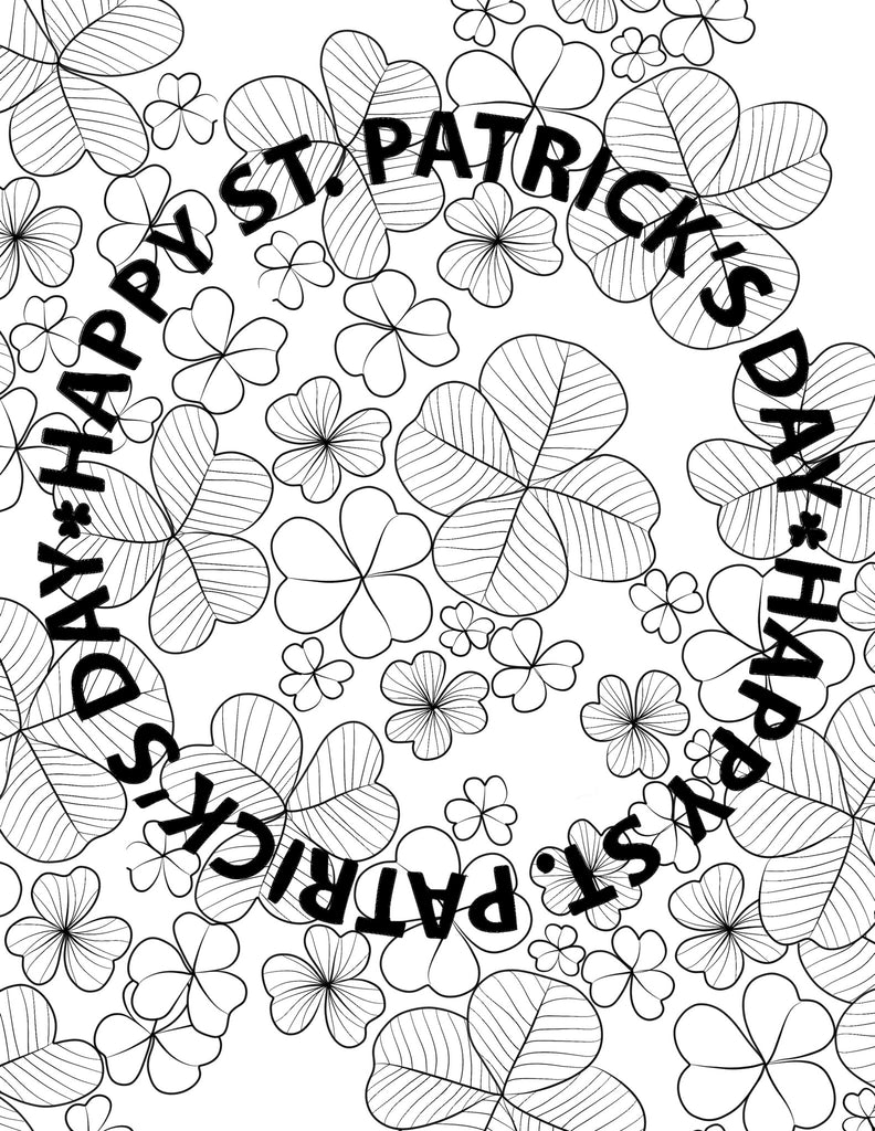 St. Paddy's Coloring Page 1 - Digital Download
