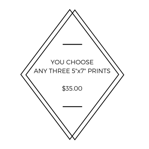 "Any Three 5"" x 7"" Little Fishes Prints - You Choose!"