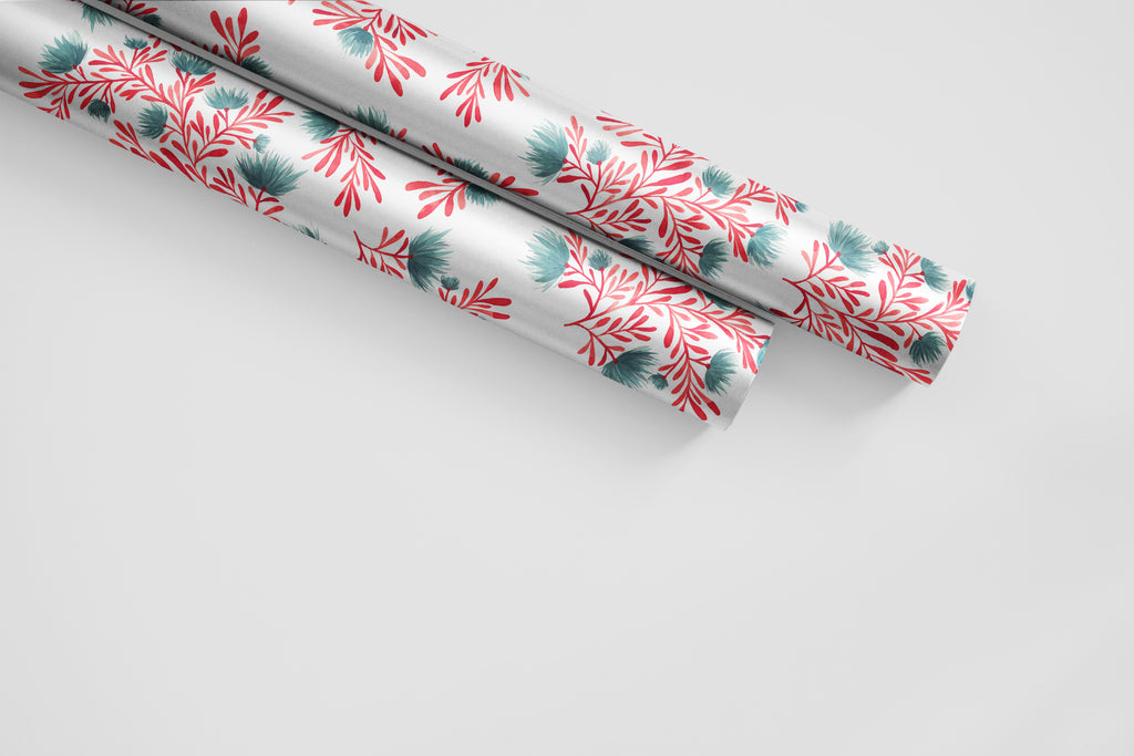 Daisy Branches Coral and Teal Wrapping Paper - Wildflowers Collection