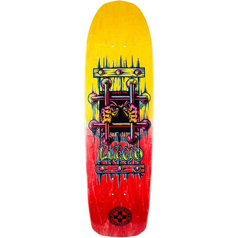 "Black Label Lucero OG Bars Red/Yellow Stain Deck, 9.25"" x 33.25"" - Ollie Around"