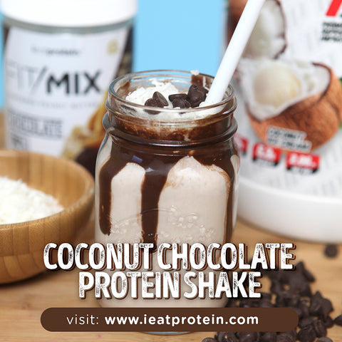 🍫 Chocolate-Coconut Protein Smoothie!  -  Recipe Below. - 1 serving @ieatprotein Chocolate #FitMix 2 scoops #1upnutrition Coconut Ice Cream Whey Protein 8 oz unsweetened almond milk 1 tbsp coconut flakes 1 tbsp sugar-free chocolate chips 1 tbsp Splenda 1 cup Ice Cubes - Topping ( optional ) chocolate sugar free syrup. -