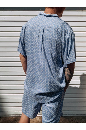 Short Sleeve Baby Blue Mosaic Shirt