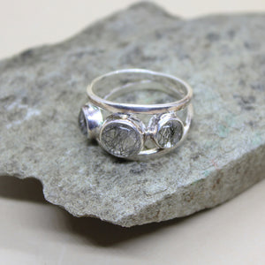 STERLING SILVER TOURMALATED QUARTZ RING