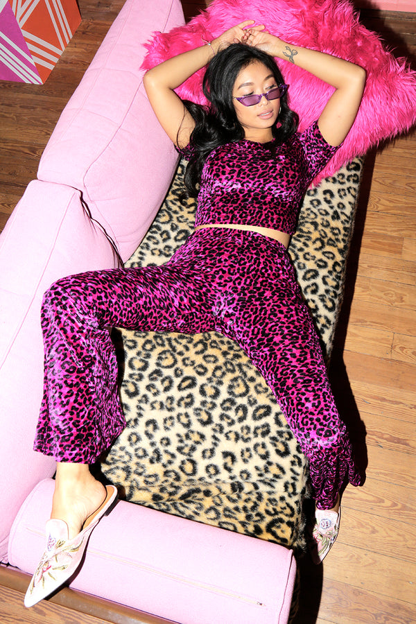 Leopard Print Flares - Pink - OOTO