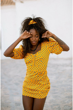 PINA Polkadot dress - Yellow