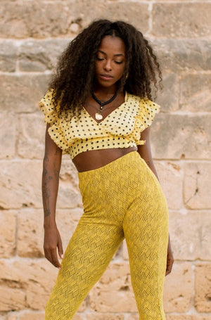 ZOE Spot Crop Top - Lemon