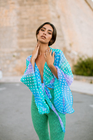 BELL Kimono - Blue and Green spot