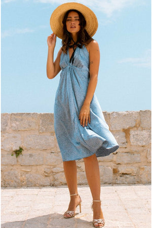 Kiara slip dress - Powder blue star