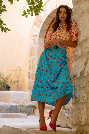 JAZMIN Dress - Peach + Blue