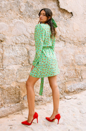 MARIA mini wrap dress - Bright green