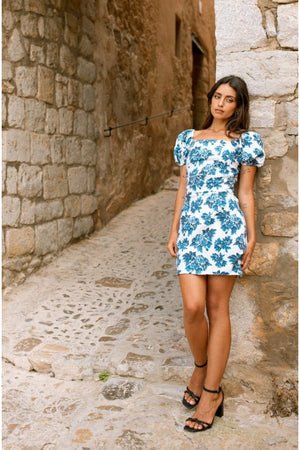 Carla mini dress - Blue floral