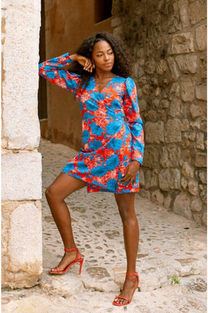 MARIA mini wrap dress - Red and Blue flower