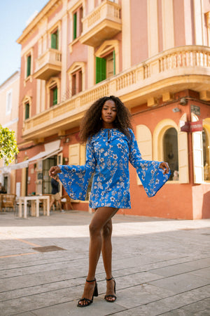 ALETA bell sleeve dress - Azul
