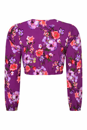 Selina Crop Purple Floral - OOTO