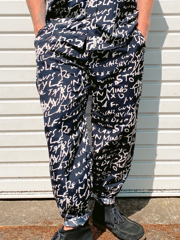 Text Print Trousers