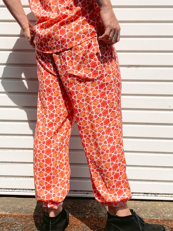 Red Mosaic Mens Trousers