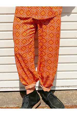 Orange Tile Print Mens Trousers