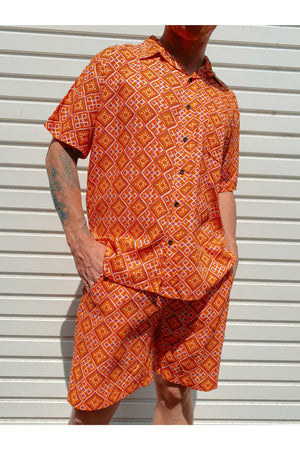 Short Sleeve Orange Tile Print Shirt