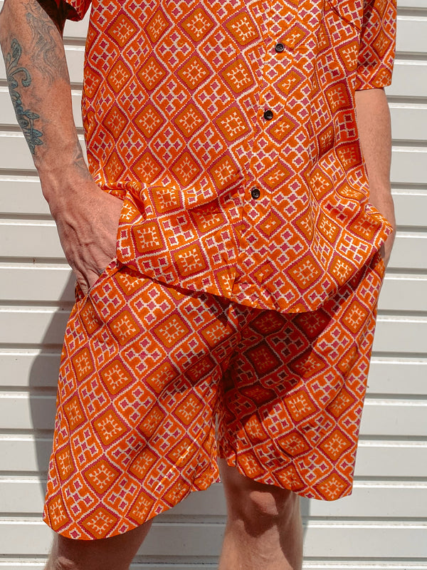 Orange Tile Mens Shorts