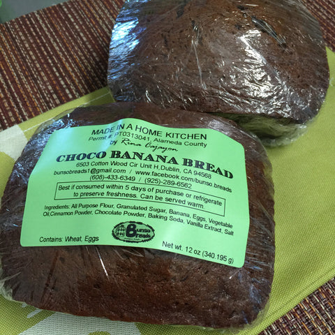 choco banana bread mini loaf minimum 2 orders (pick-up only)