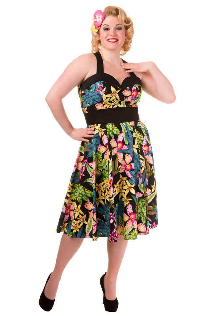 Banned Flowers Print Contrast Waistband Halter Plus Size Dress