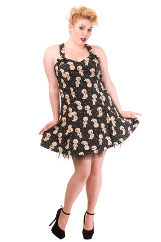Banned Gothic Voodoo Dolls Print Mini Plus Size Dress