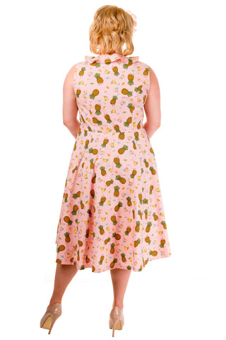 Banned Pineapple Print Sleeveless Plus Size Dress