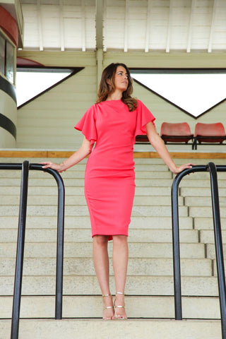 Hardy Pencil Dress, Coral - James Steward
