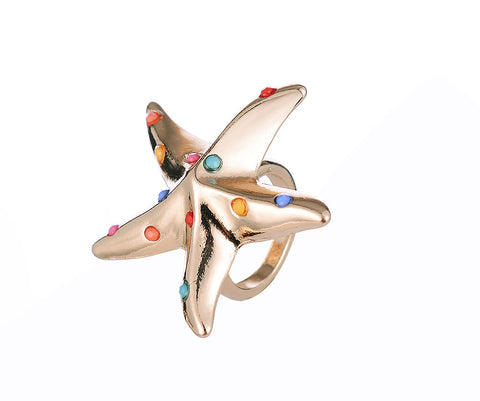 Starfish Design Gold Plated Ring - GOLD