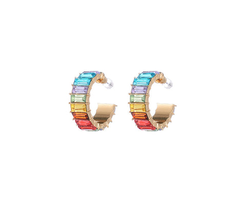 Rainbow Hoop Earrings - Rainbow/Multi