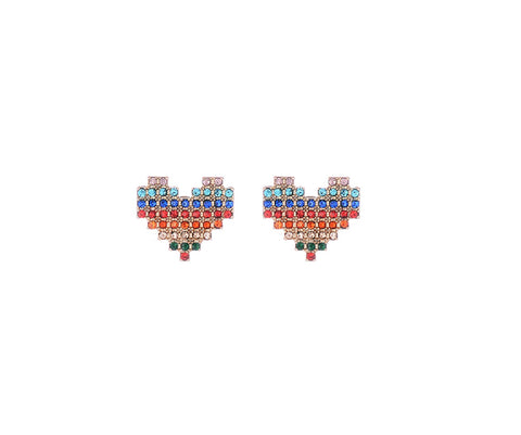 Rainbow Heart Diamante Earrings - MULTI RAINBOW