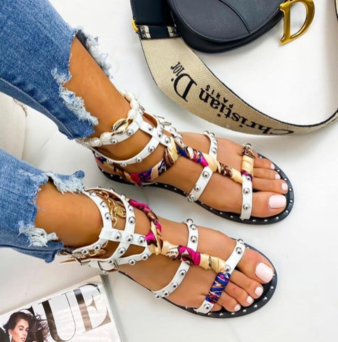 Stud and Scarf Detail Sandals - White/Multi